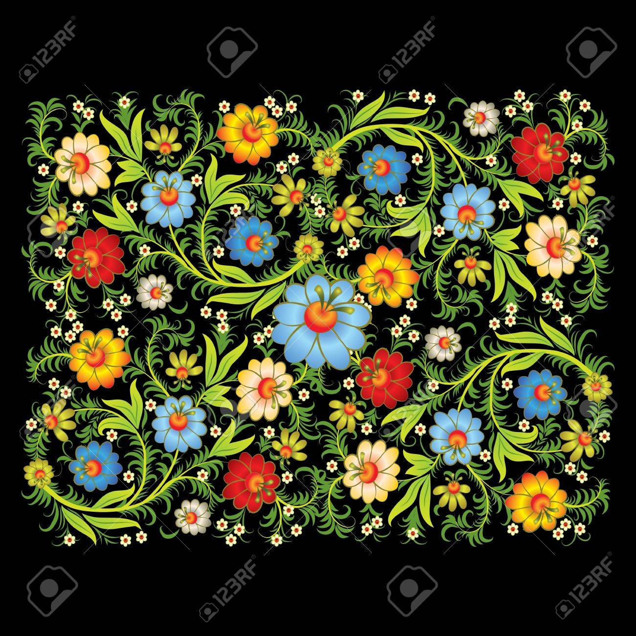 abstract floral ornament with color flowers isolated on a black background Stock Vector - 9567161