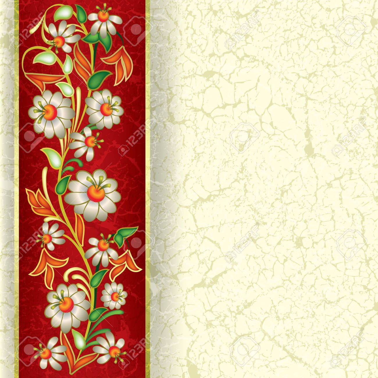 abstract grunge beige background with floral ornament on red Stock Vector - 9567189