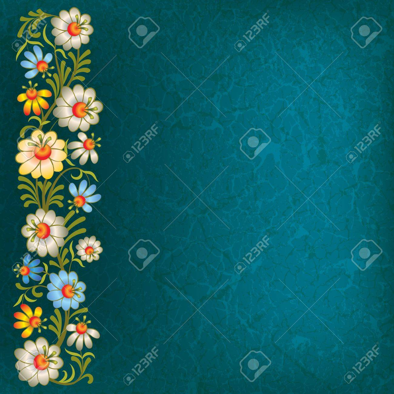 abstract vintage background with floral ornament on blue Stock Vector - 9615508