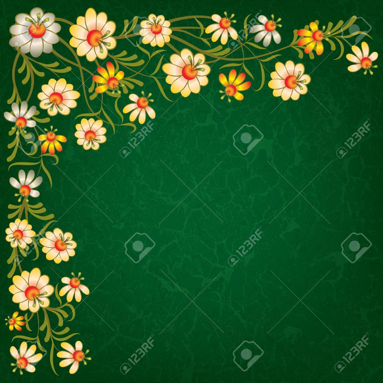 abstract vintage green background with color floral ornament Stock Vector - 9615515