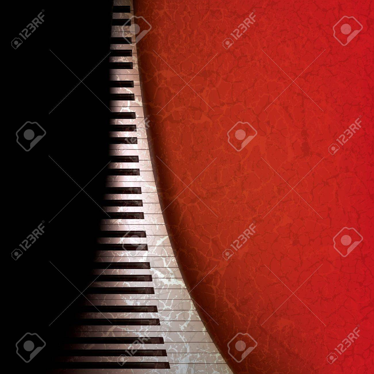 abstract grunge music background with piano keys on red Stock Vector - 9647092