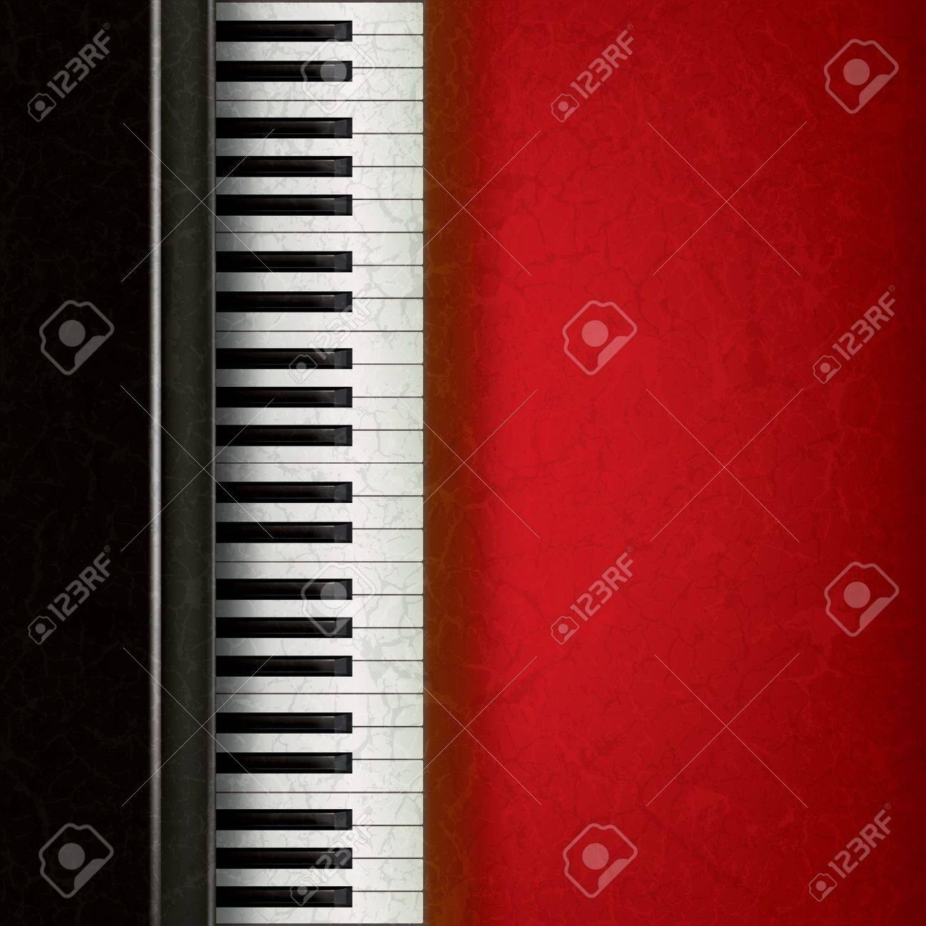 abstract music grunge background with piano on red Stock Vector - 9647093