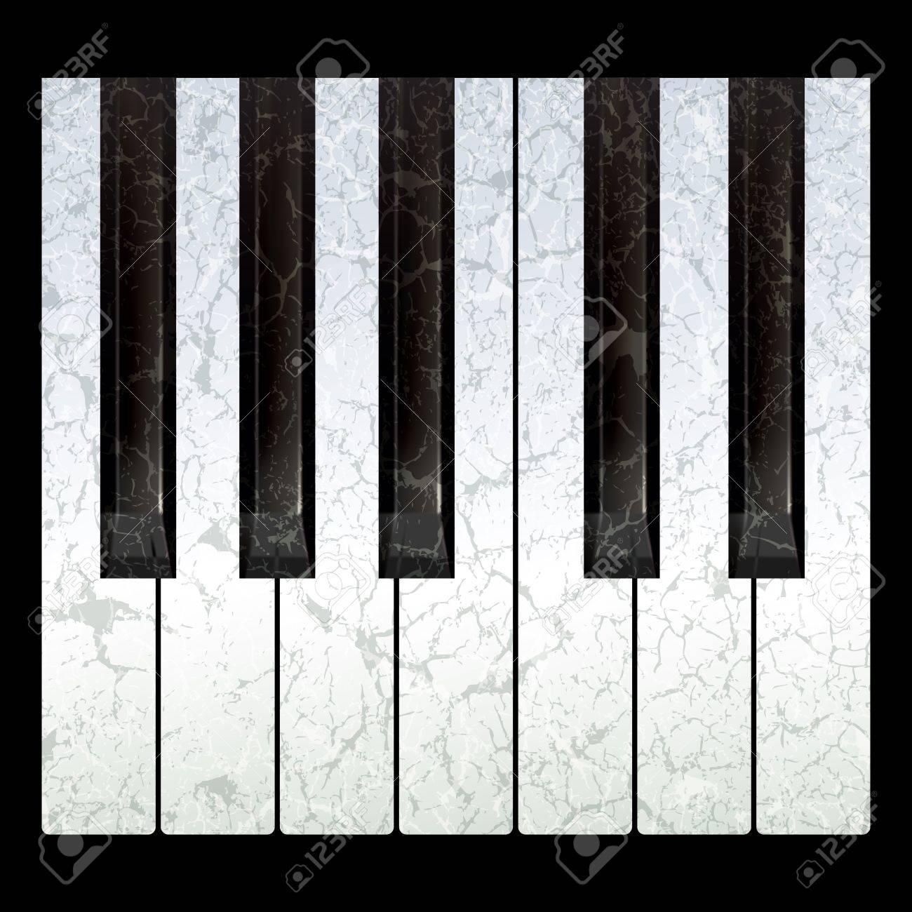 Piano Black Background Piano Keys Isolated on a Black