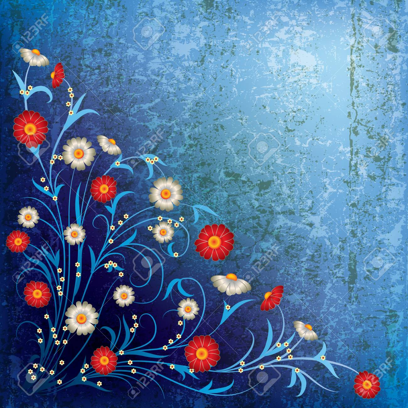 abstract grunge illustration with white flowers on blue background Stock Vector - 9817772