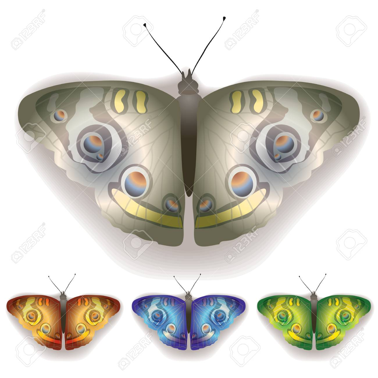 colored butterflies isolated on a white background Stock Vector - 9839269