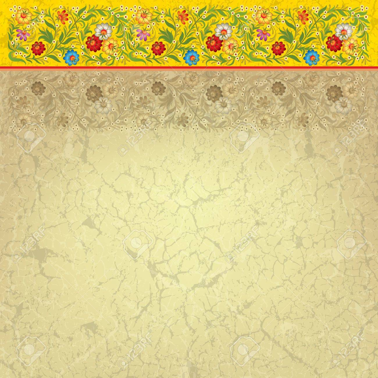 abctract grunge beige background with vintage floral ornament Stock Vector - 9935710