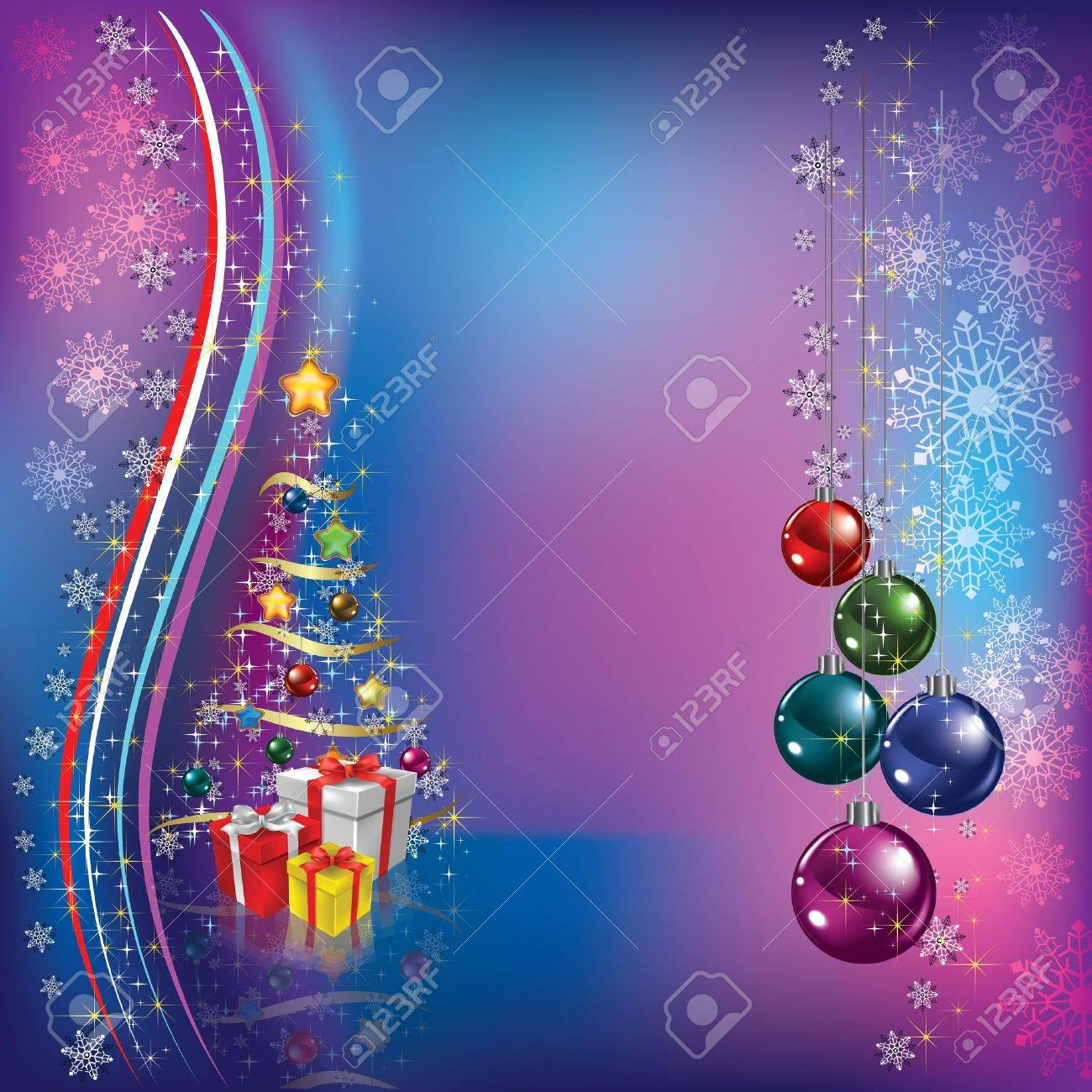 christmas tree with decoration and gifts on blue background Stock Vector - 10185378