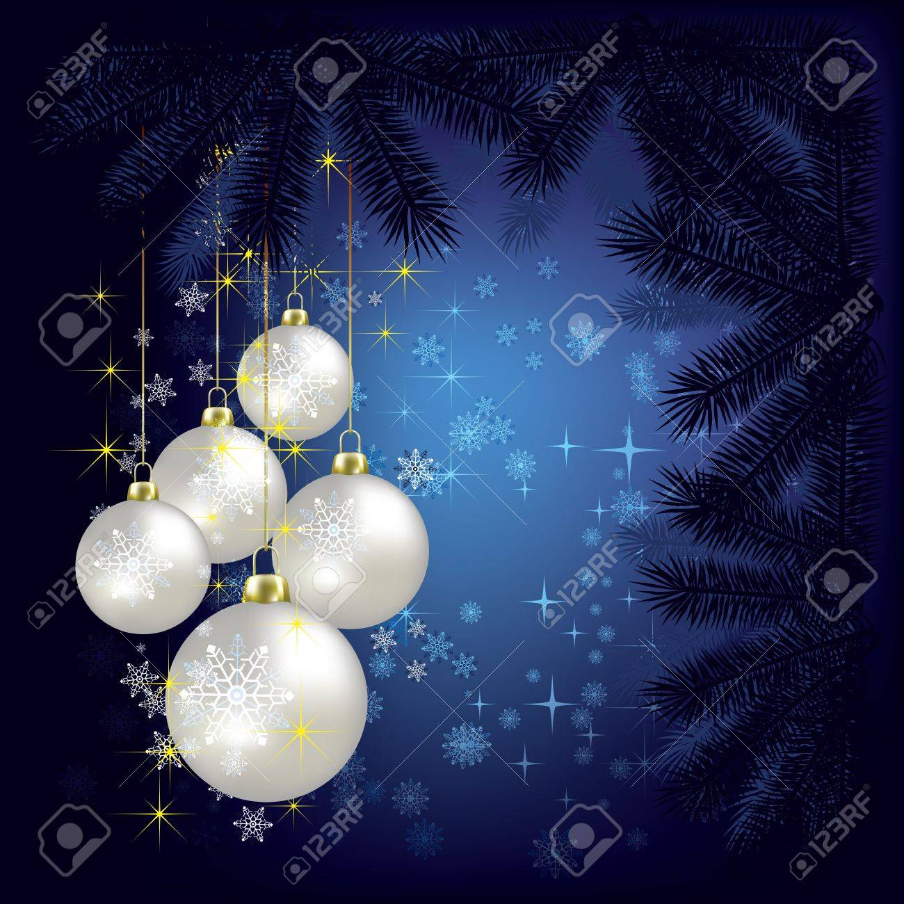 Abstract Christmas background with decorations and tree on blue Stock Vector - 10265890