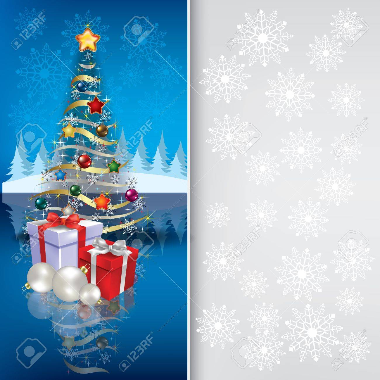 Abstract grey blue greeting with Christmas tree and gifts Stock Vector - 10399356