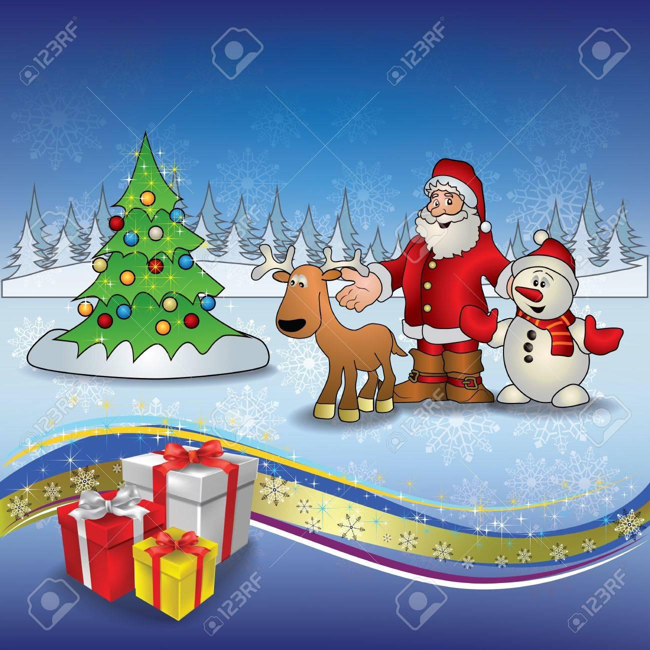 Abstract Christmas greeting with Santa deer snowmen and tree Stock Vector - 10399376