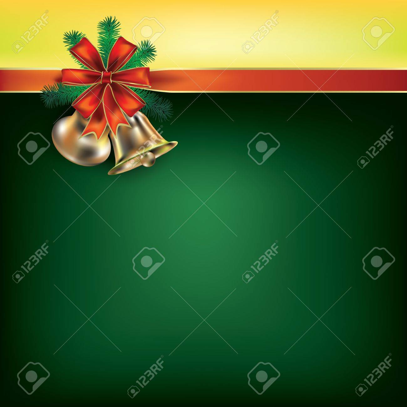 Abstract Christmas green greeting with red gift ribbons Stock Vector - 10490100
