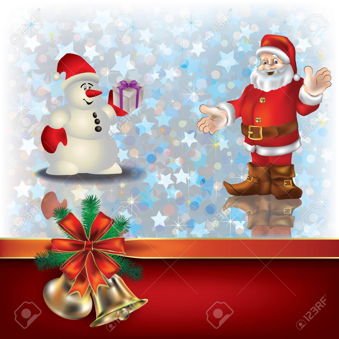 Abstract Christmas greeting with Santa Claus and gift ribbons Stock Vector - 10490106