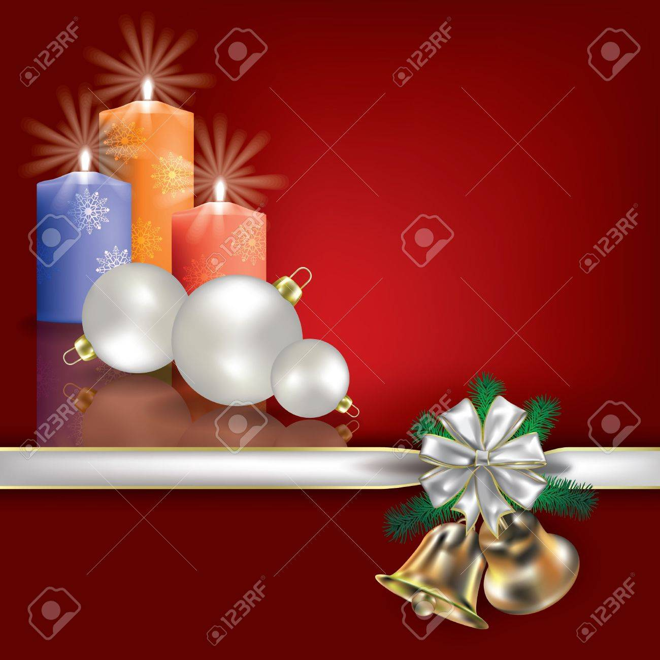 Abstract Christmas red greeting with candles and white gift ribbons Stock Vector - 10502753