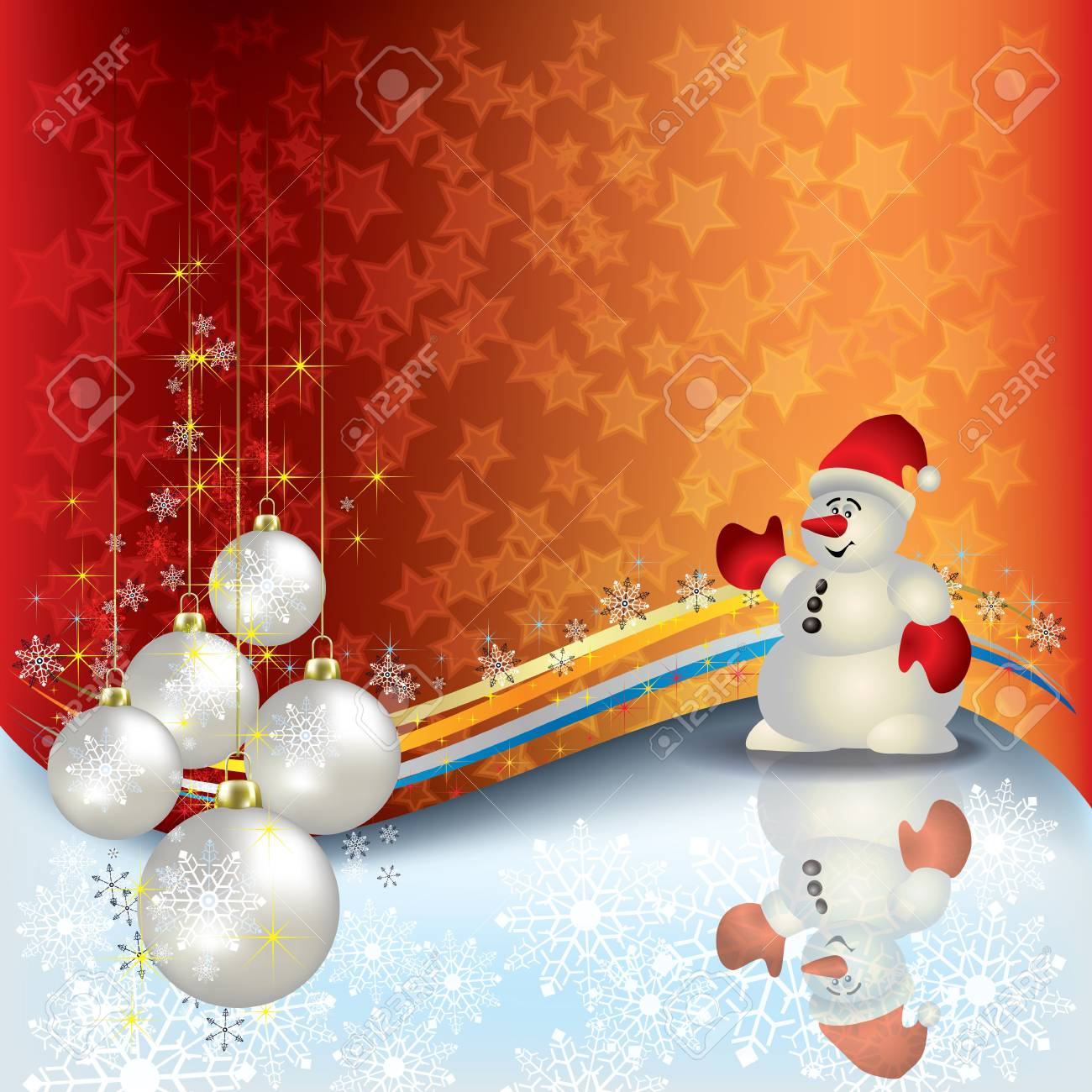 Abstract Christmas background with Snowman and decorations Stock Vector - 10511655