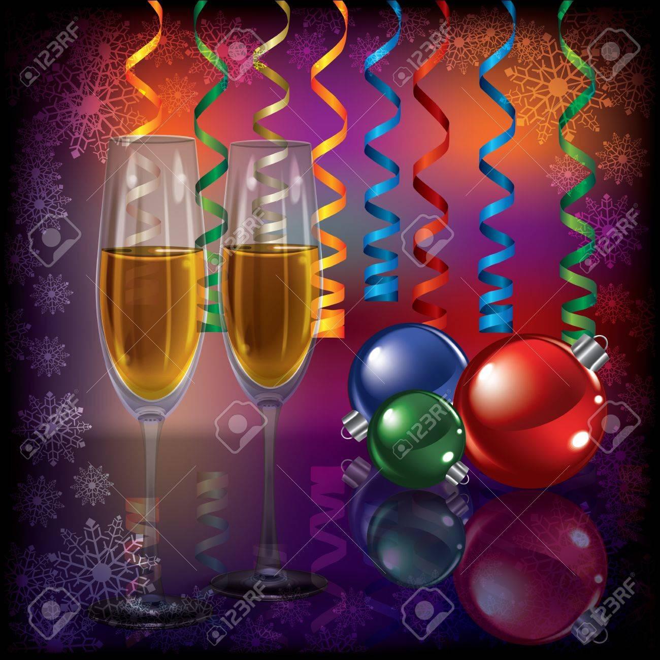 Abstract Weihnachten Dunkel Begrüßung Mit Champagner Und ...