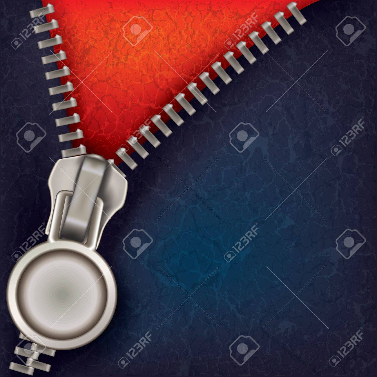 abstract blue red background with open steel zipper Stock Vector - 10751620