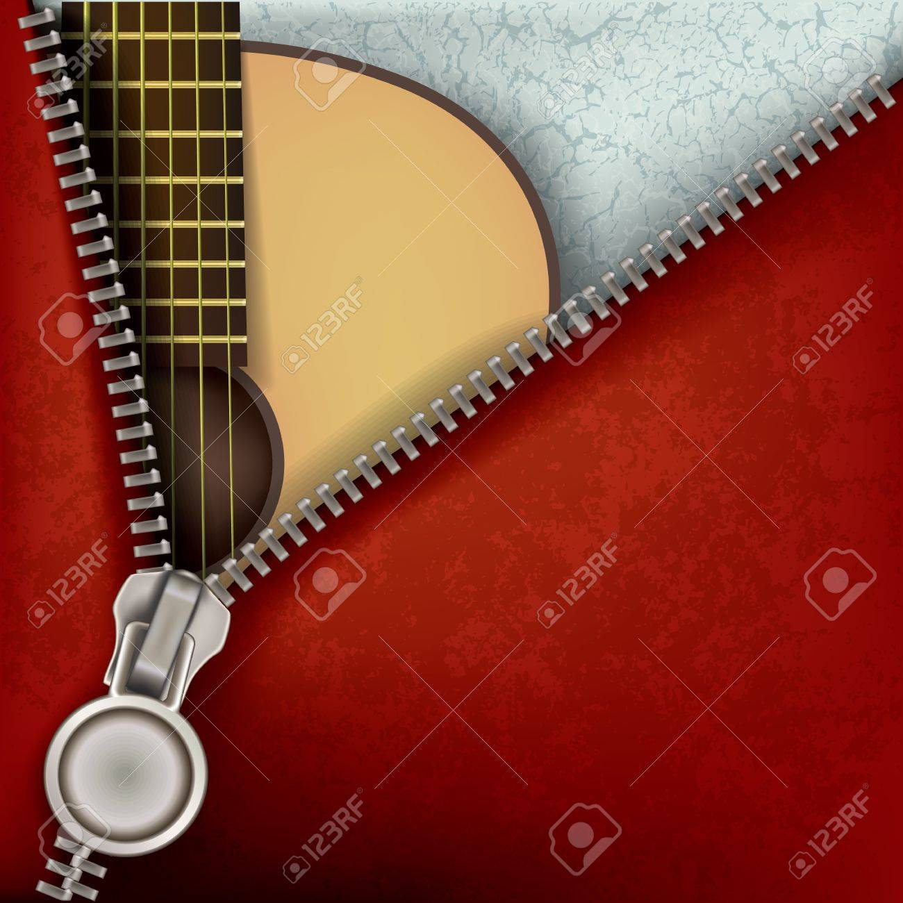 abstract music background with guitar and open zipper Stock Vector - 10751621