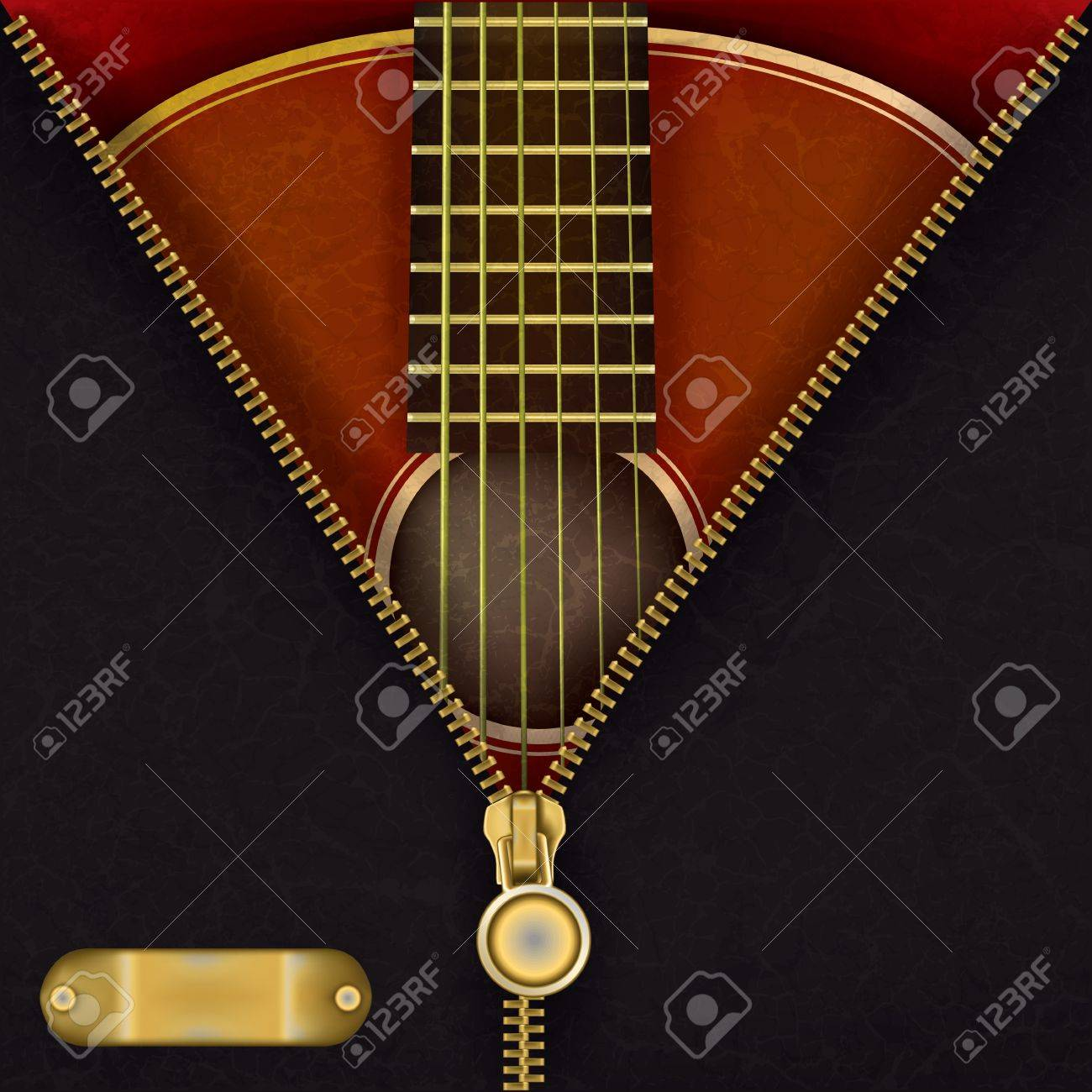 abstract music red background with guitar and open zipper Stock Vector - 10751619