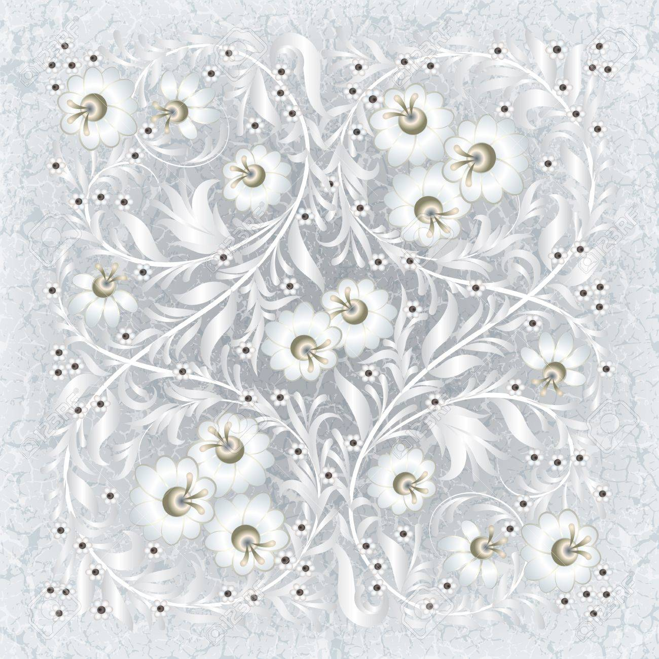 abctract floral ornament on white grunge background Stock Vector - 11449255