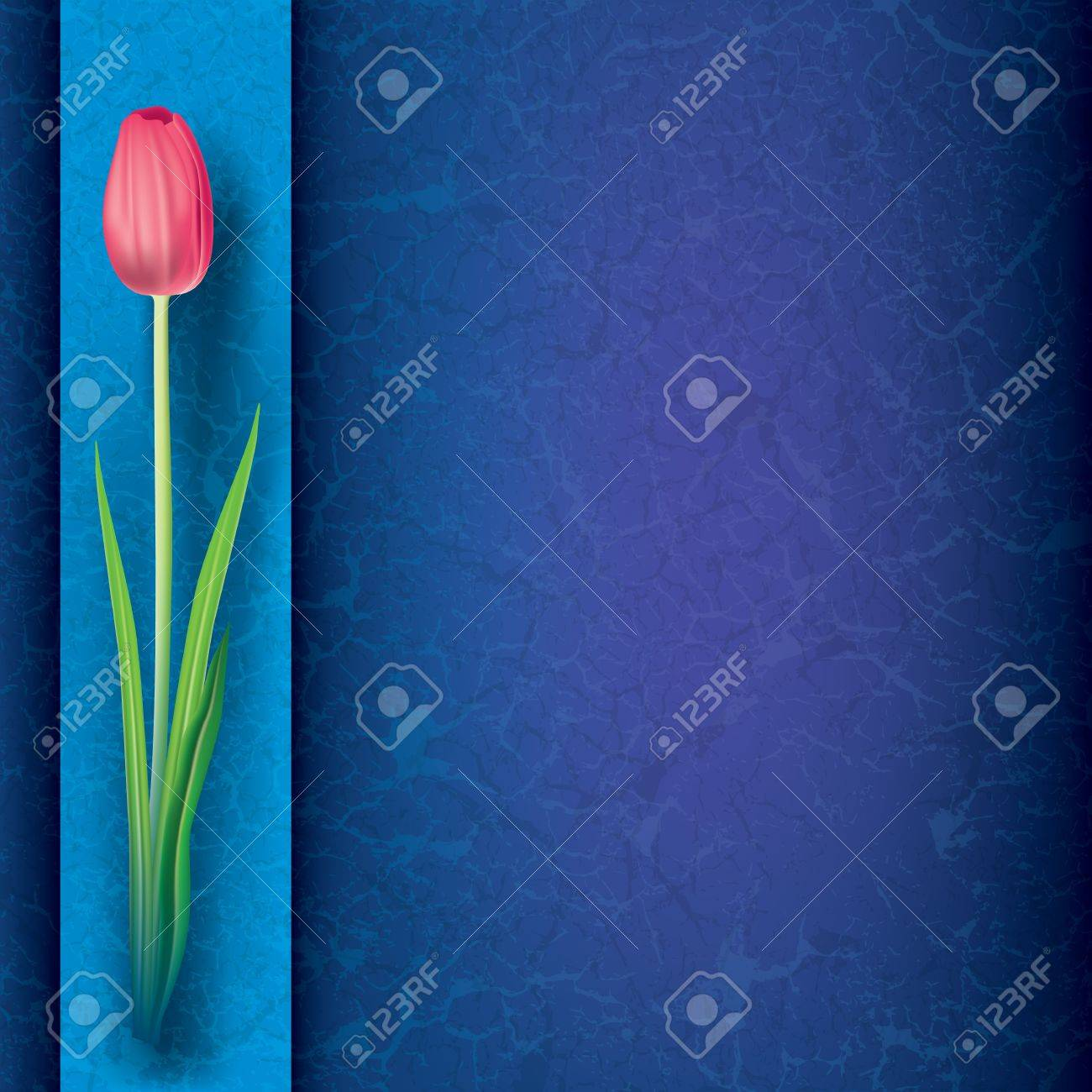 abstract grunge floral background with red tulip on blue Stock Vector - 11657276