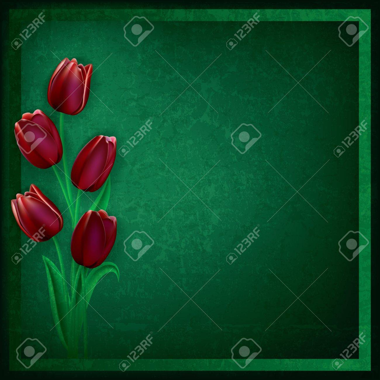 abstract grunge green background with red tulips Stock Vector - 12837569
