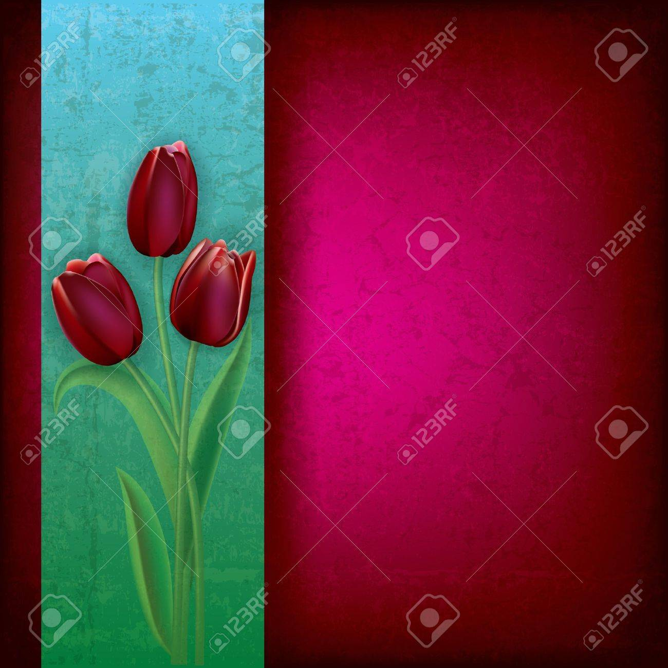 abstract purple grunge background with red tulips Stock Vector - 12837568