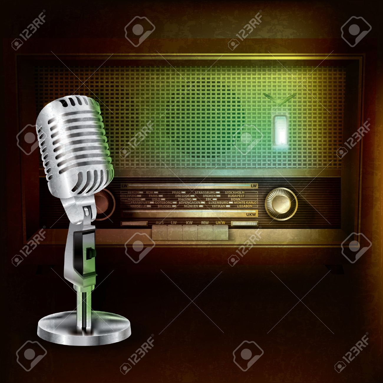 abstract grunge background with retro radio and microphone Stock Vector - 14492125