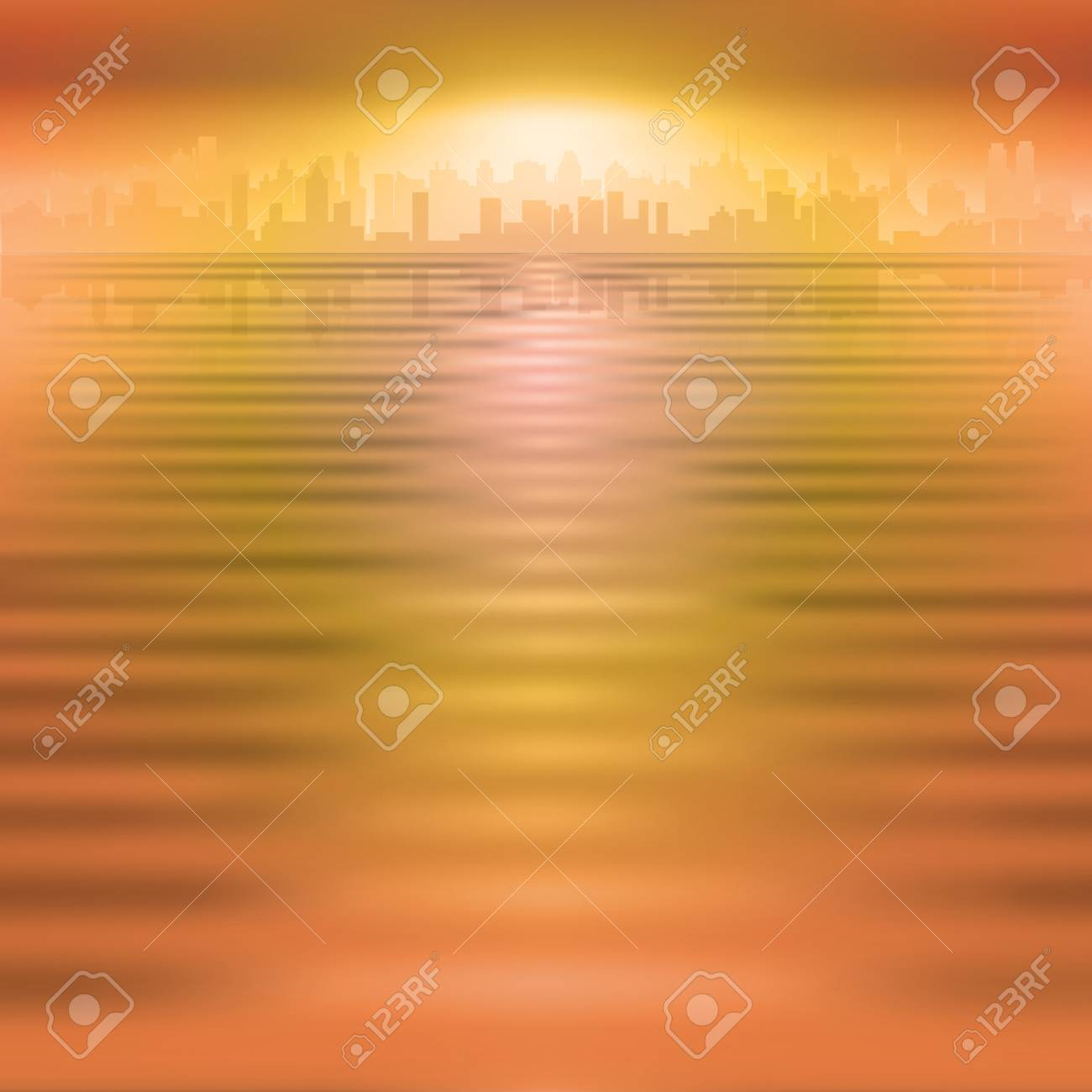 abstract orange background with silhouette of city Stock Vector - 14830854