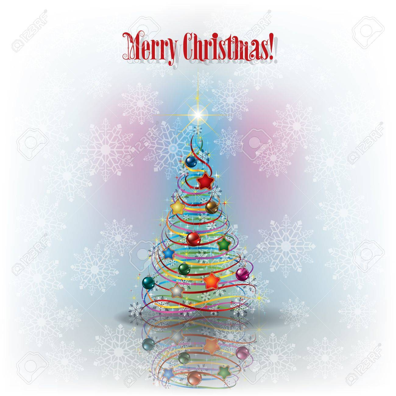 Christmas greeting with tree and snowflakes and text Merry Christmas Stock Vector - 15160868