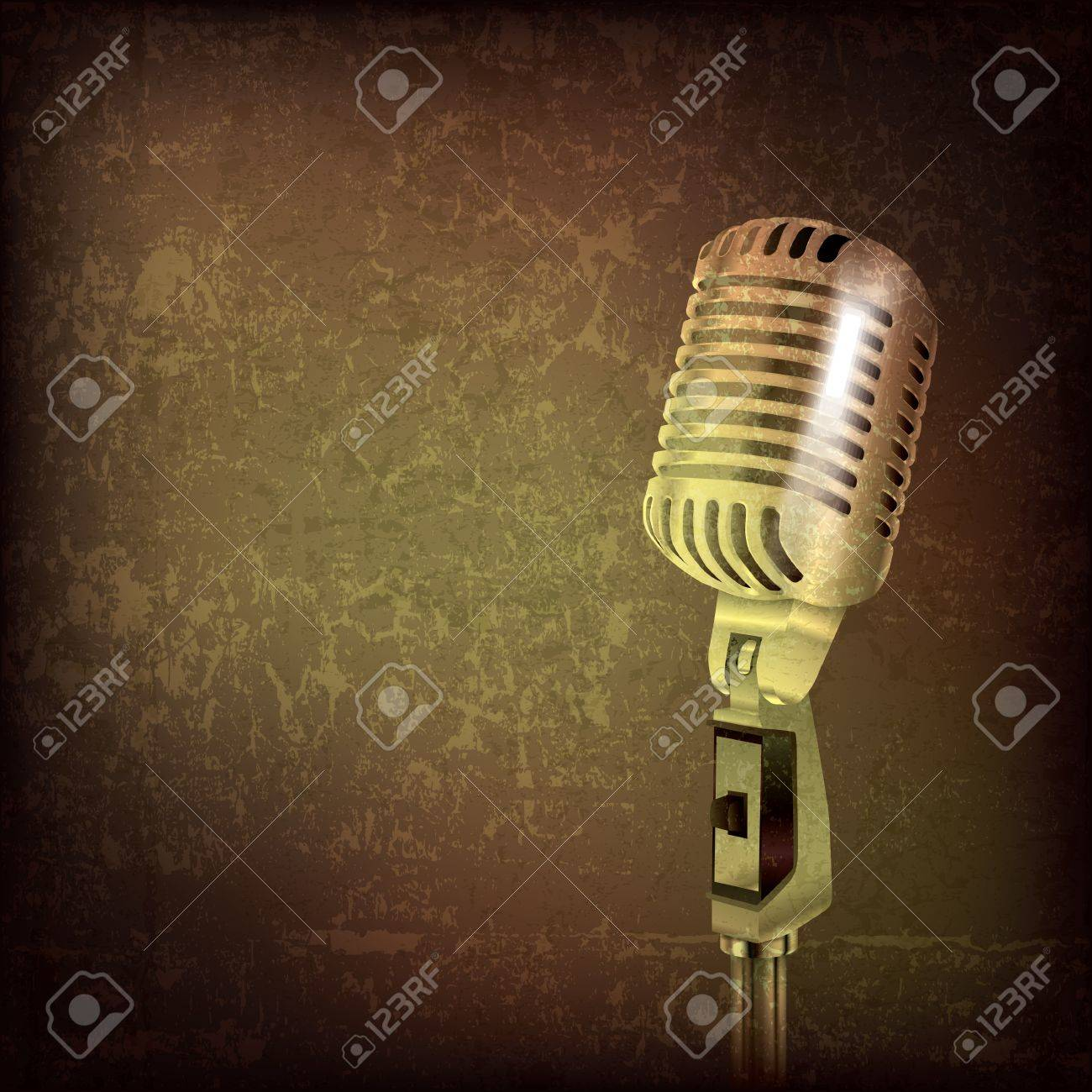 abstract grunge music background with retro microphone Stock Vector - 15375391