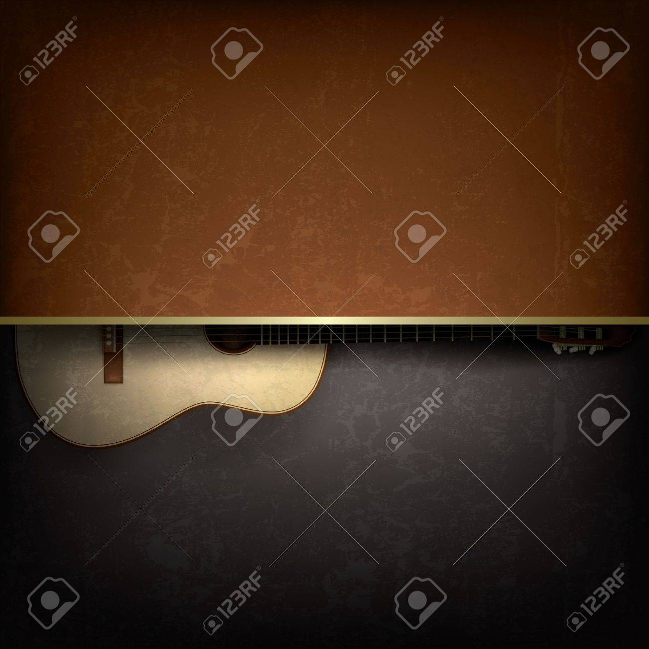 Abstract grunge music background with acoustic guitar Stock Vector - 15906691