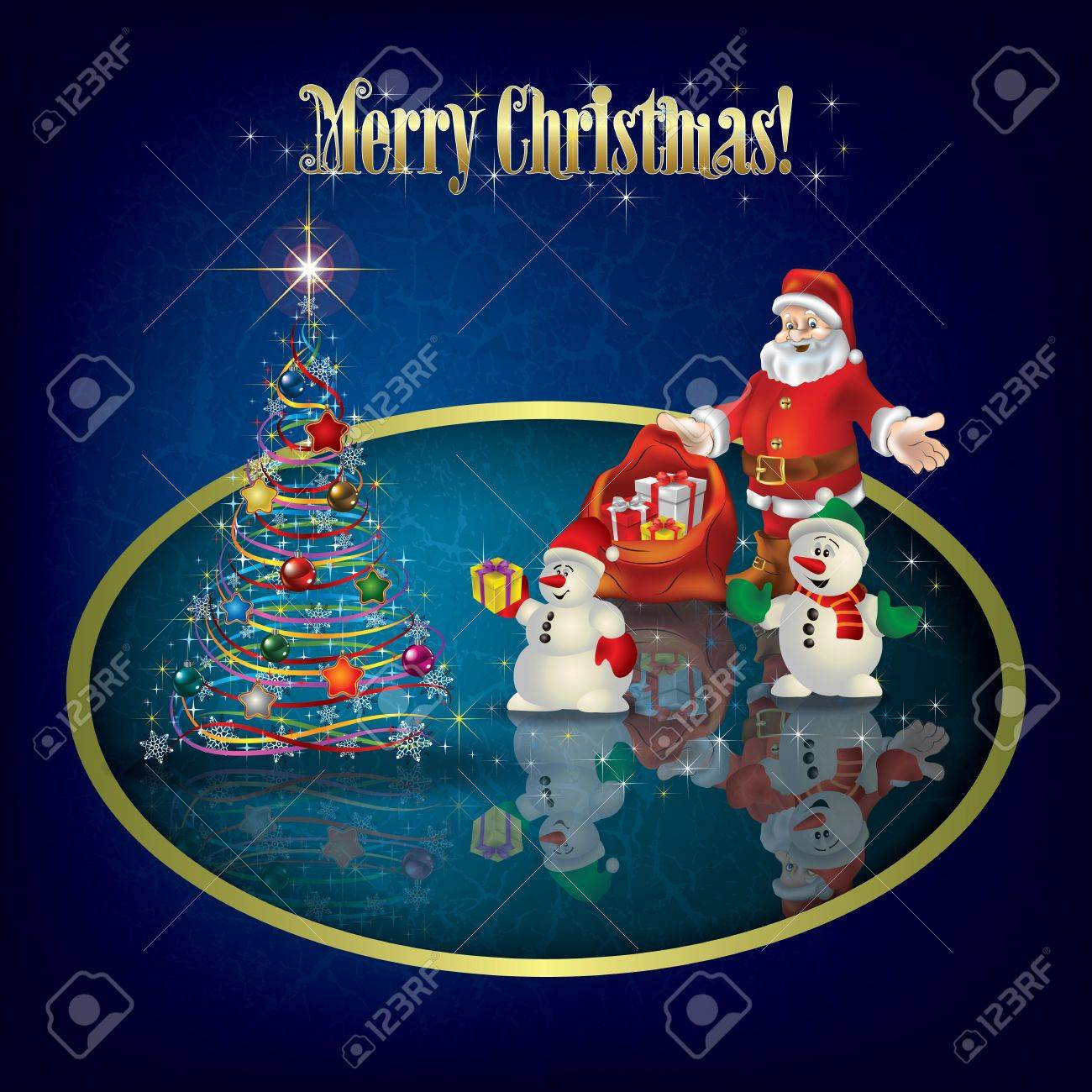 Christmas grunge greeting with Santa Claus and snowmen Stock Vector - 16189267