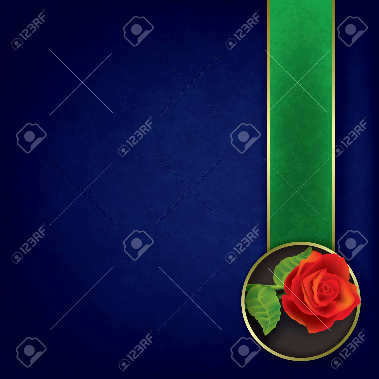 abstract grunge blue background with red rose Stock Vector - 16352377