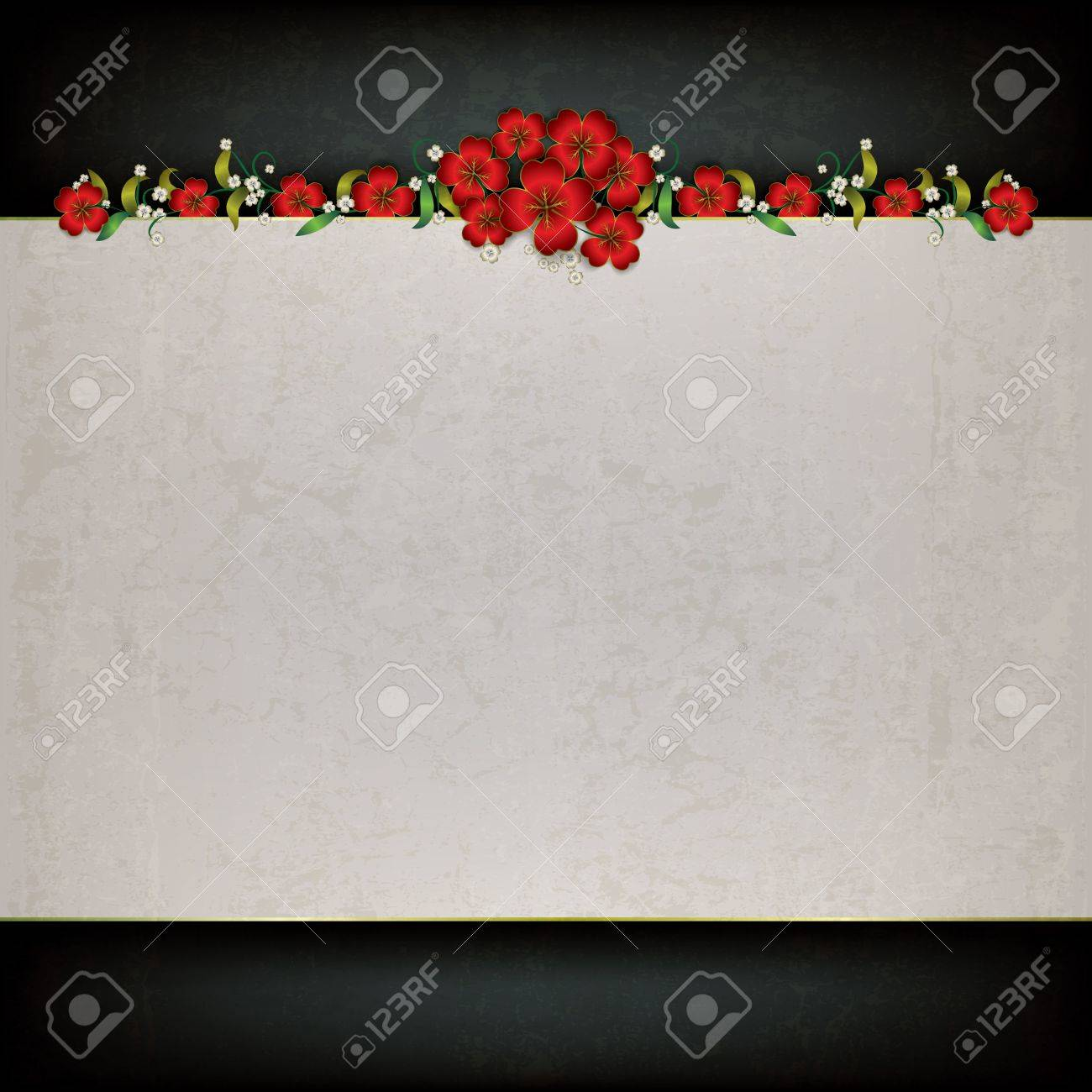 abstract grunge gray background with red floral ornament Stock Vector - 17554321