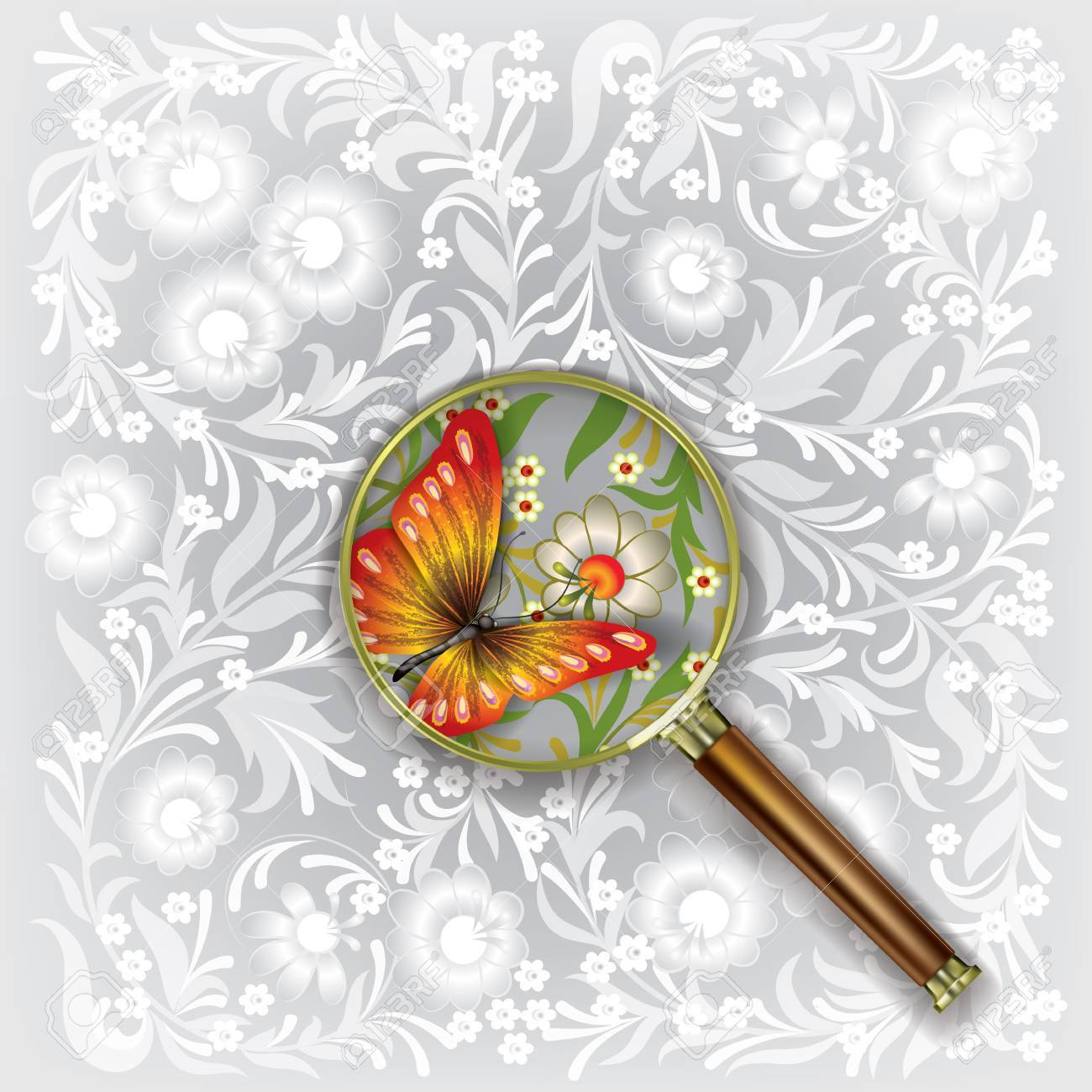 Magnifying glass with butterfly and floral ornament Stock Vector - 18724407