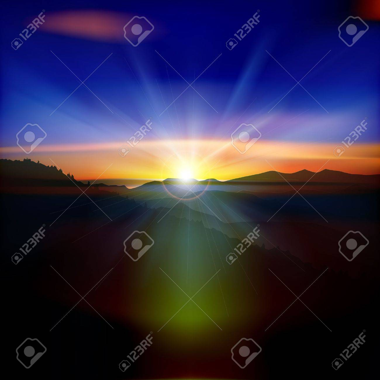 abstract nature background with mountains and sunrise Stock Vector - 20008745
