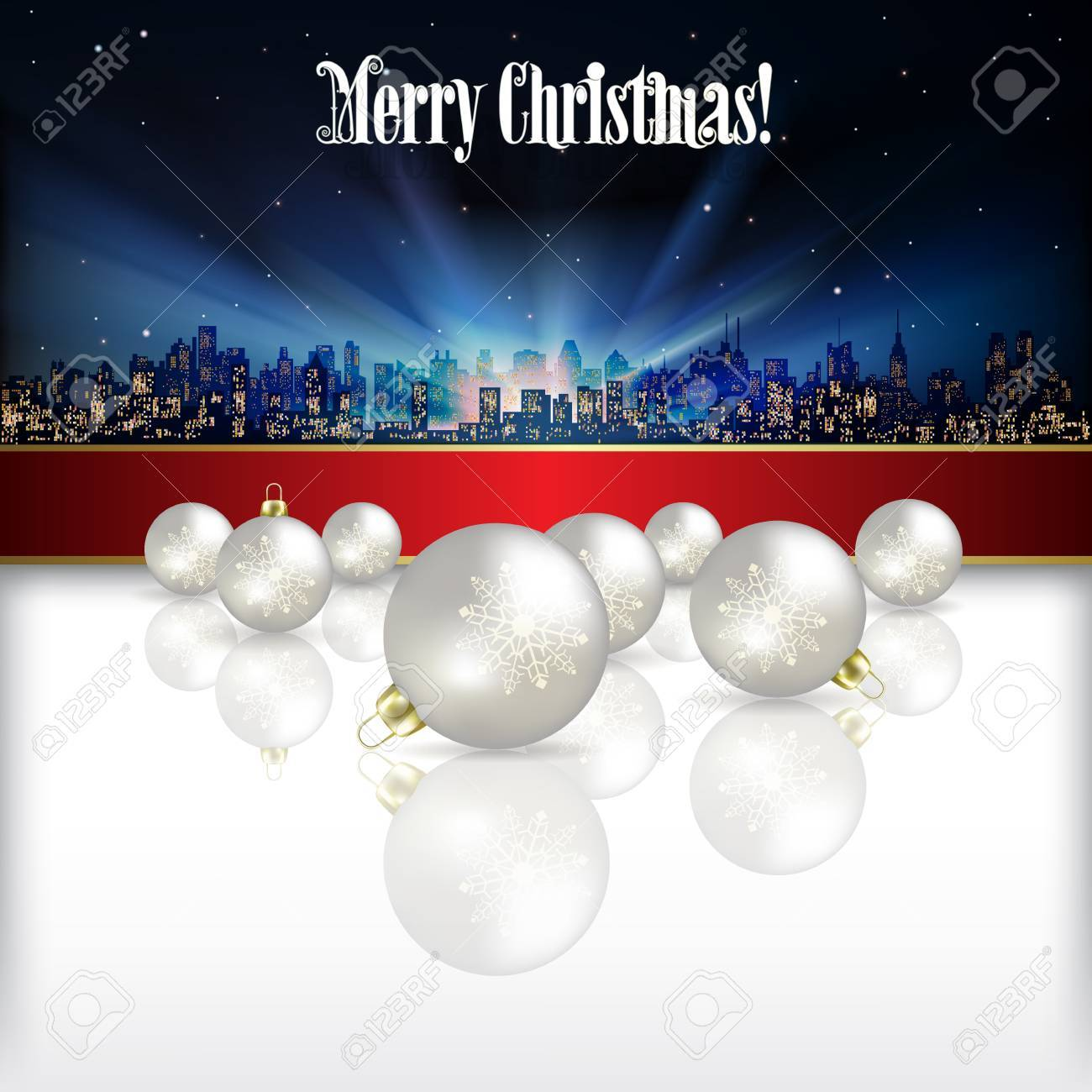 Abstract celebration background with silhouette of city and Christmas decorations Stock Vector - 21425693