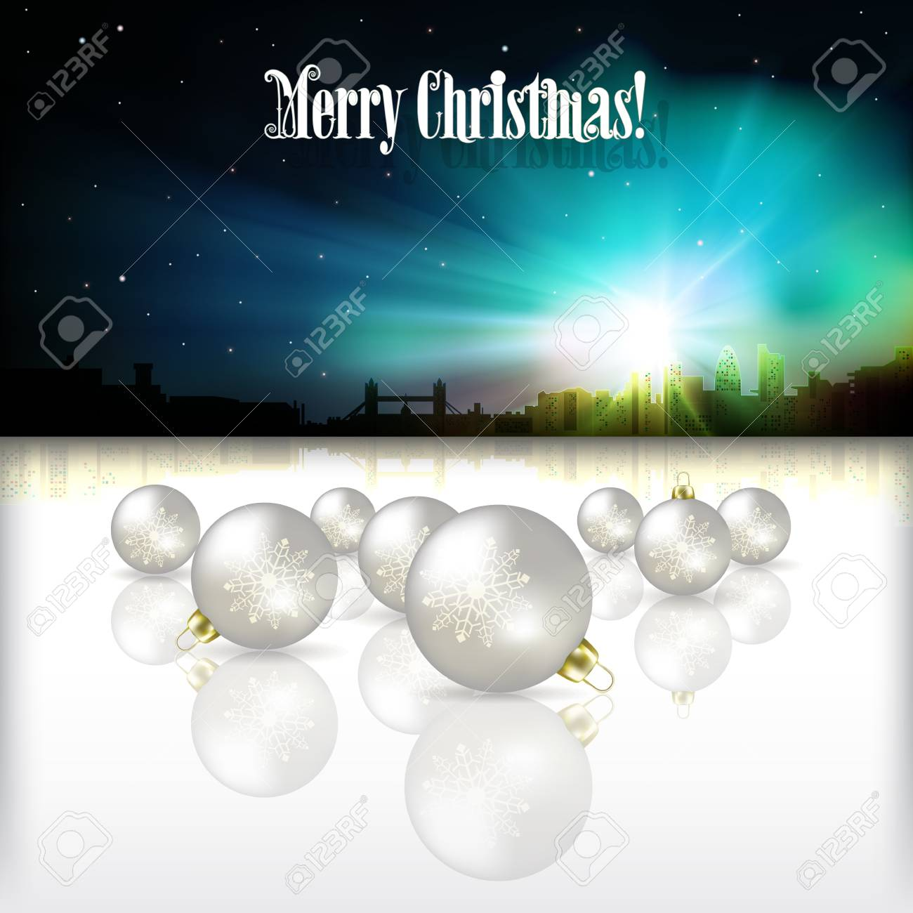 Abstract celebration background with silhouette of London and white Christmas decorations Stock Vector - 21425714