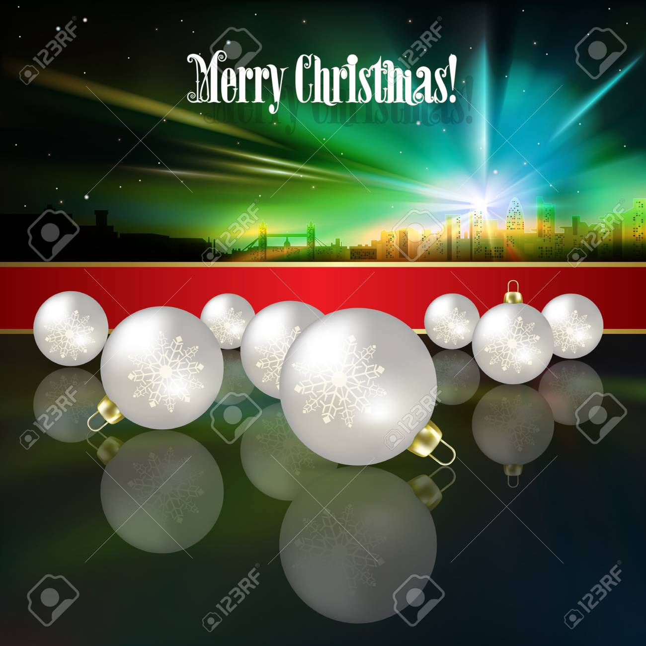 Abstract celebration background with white Christmas decorations and silhouette of London Stock Vector - 21425719