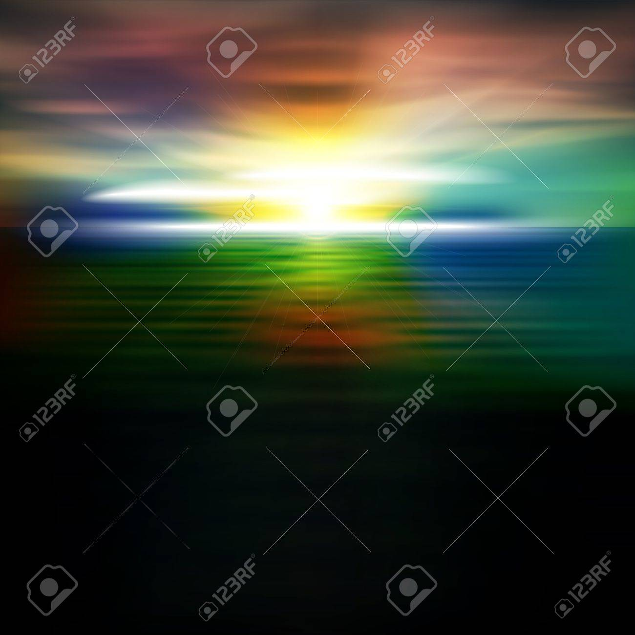 abstract dark nature background with sea sunrise and clouds Stock Vector - 21773503