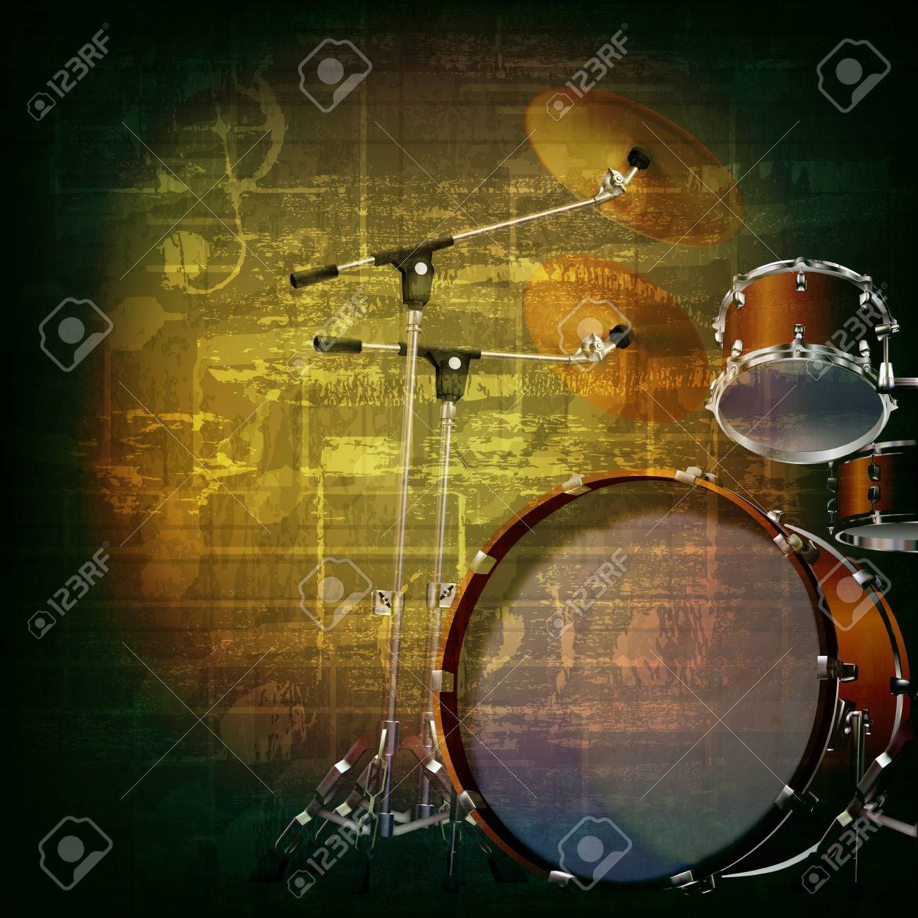 Abstract Green Grunge Music Background With Drum Kit Royalty Free ...