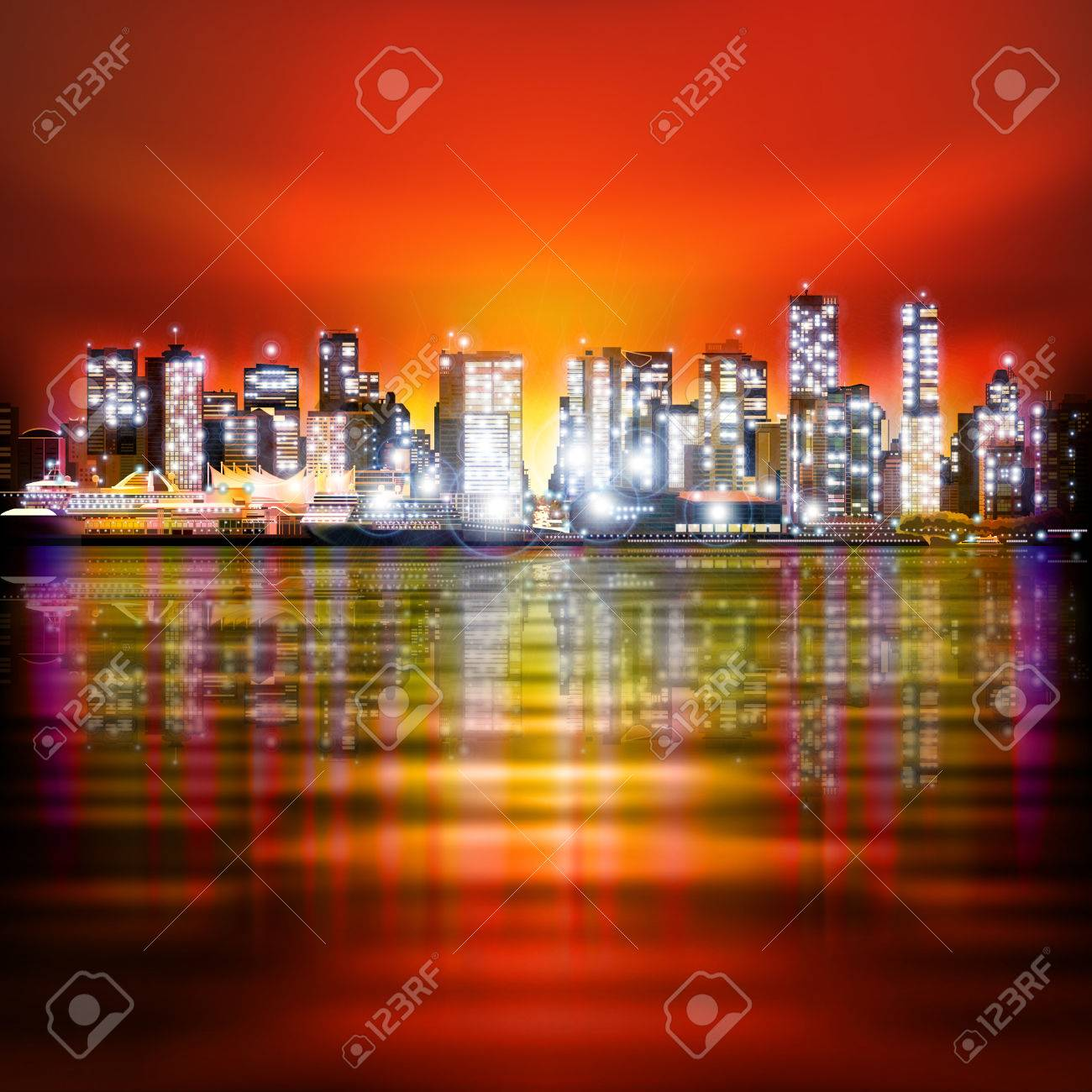 Cielo Rosso Di Notte.Vettoriale Astratto Cielo Rosso Con Panorama Della Citta