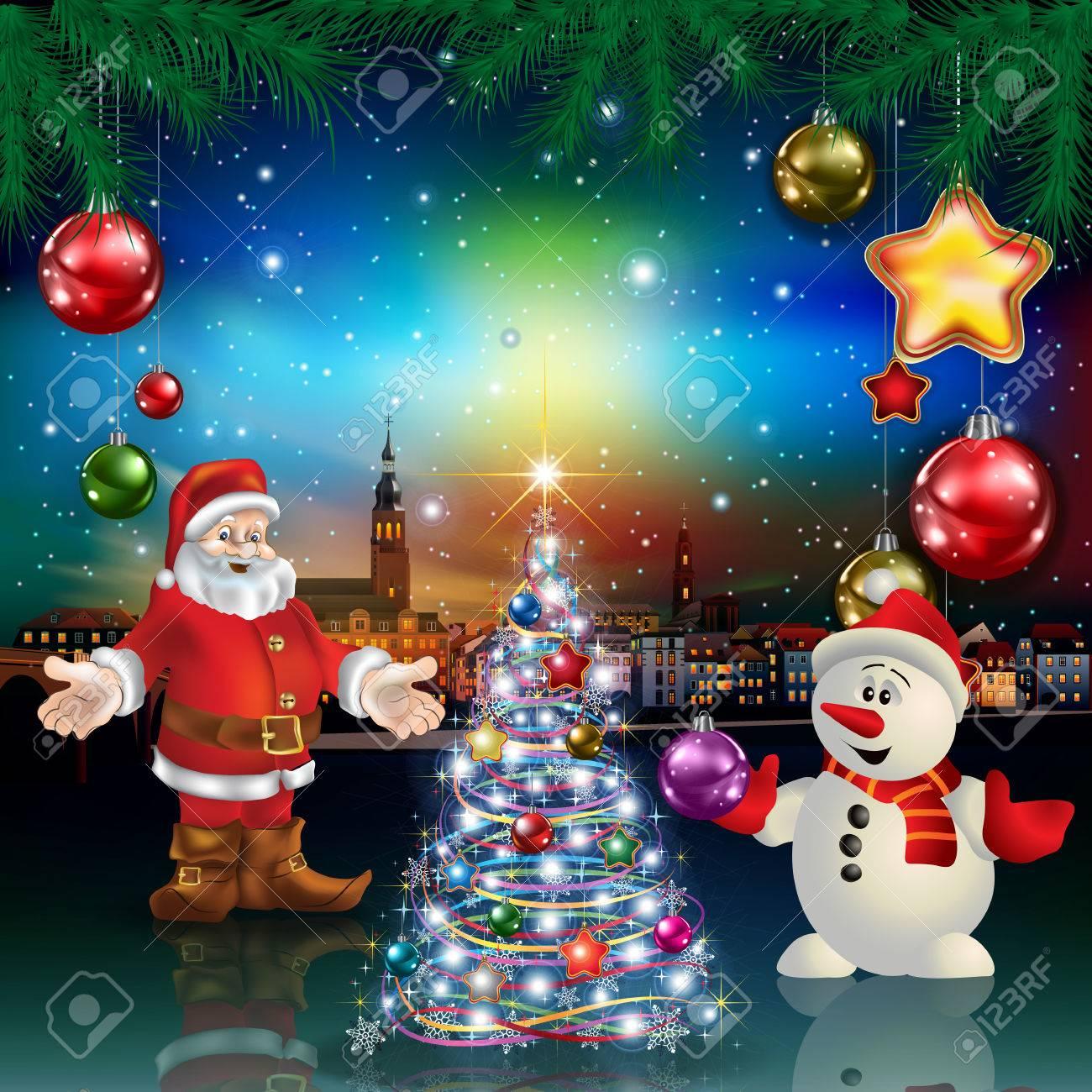 Immagini Di Natale Con Babbo Natale.Saluto Di Natale Con Panorama Della Citta Di Babbo Natale E Pupazzo Di Neve