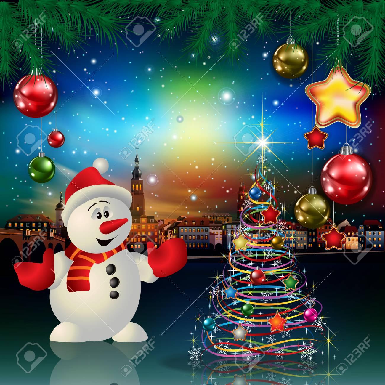 Foto Di Natale Con Auguri.Auguri Di Natale Con Panorama Della Citta E Del Pupazzo Di Neve