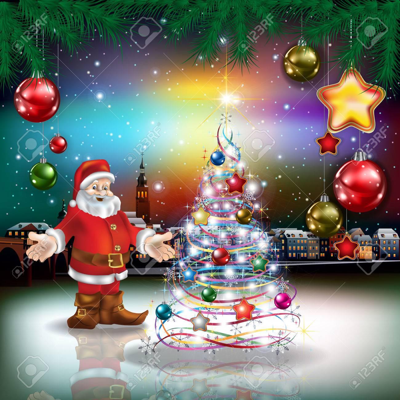 Foto Di Natale Con Auguri.Auguri Di Natale Con Panorama Della Citta Vecchia E Babbo Natale