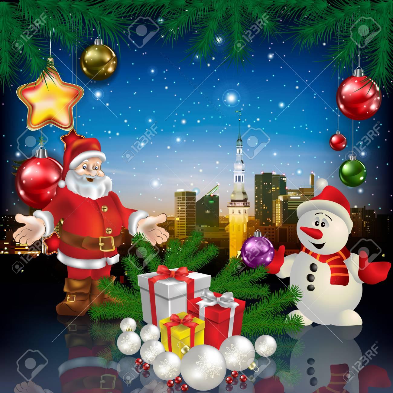 Regali Di Babbo Natale.Vettoriale Celebrazione Saluto Con Panorama Della Citta Pupazzo Di Neve Di Babbo Natale E Regali Di Natale Image 88121766