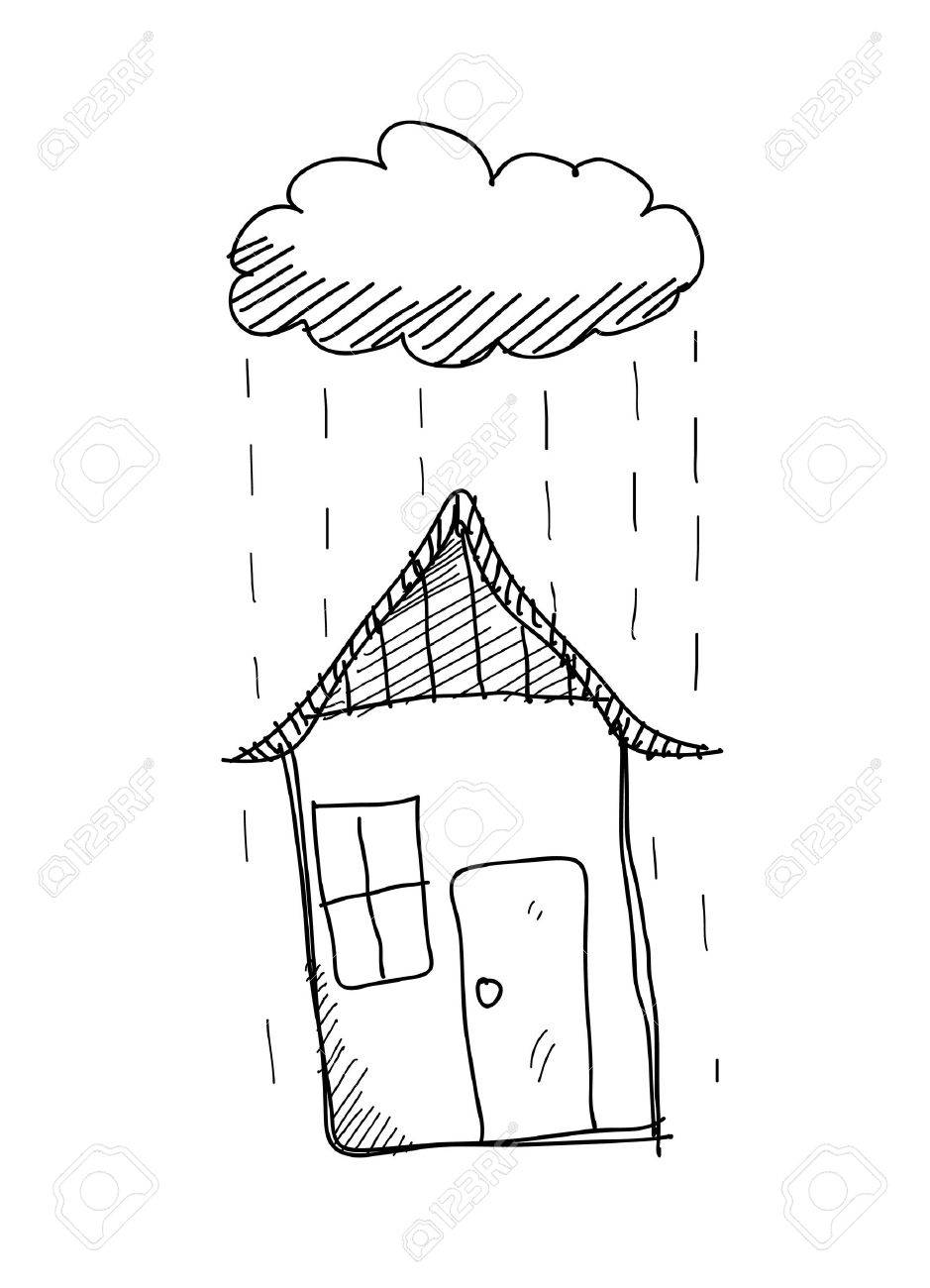 Rainy day doodle a hand drawn vector doodle illustration of