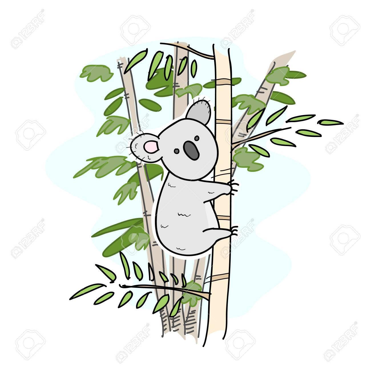 コアラかわいいコアラの手描きベクトル イラスト コアラ白い線