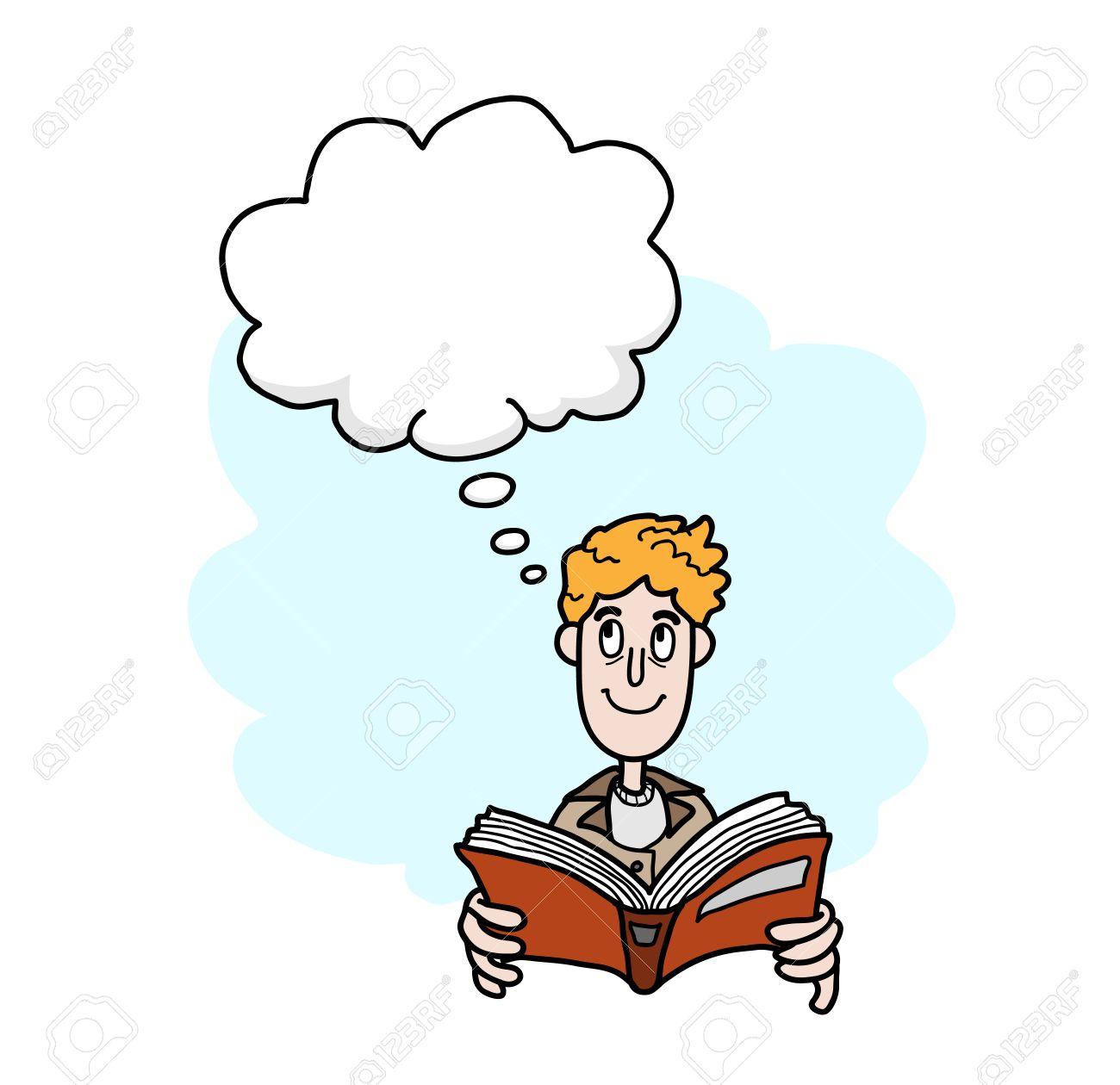 Lire Un Livre Une Illustration De Vecteur Tire Par La Main D Un Homme Lisant Un Livre Tout En Imaginant Des Choses L Objet Principal La Narration