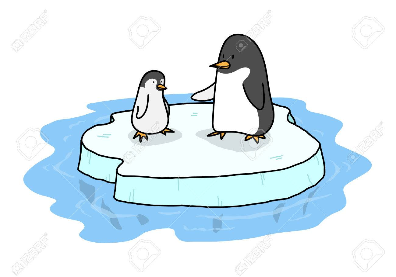 Penguins On Ice A Hand Drawn Vector Illustration Of Two Cute Royalty Free Cliparts Vectors And Stock Illustration Image 55605132